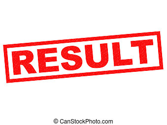RESULT red Rubber Stamp over a white background.