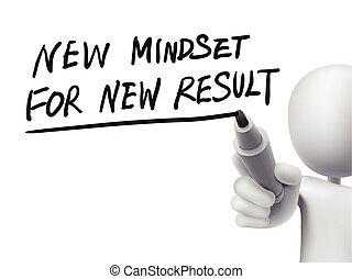 resultados, escrito, hombre, nuevo, mindset, 3d