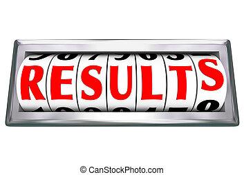 resultados, palavra, resultado, medindo, produtividade, eficiência