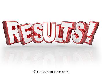 resultaten, 3d, woord, vervulling, resultaat, bereiken, doel