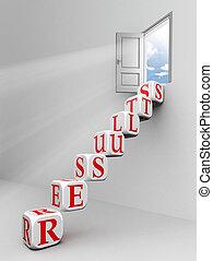 resultaten, blok, ladder, om te openen, deur