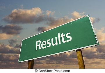 resultaten, groene, wegaanduiding