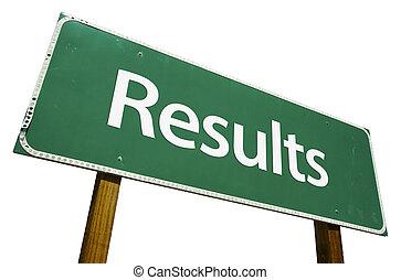 resultaten, wegaanduiding