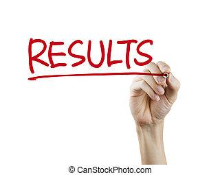 resultaten, woord, geschreven, door, hand