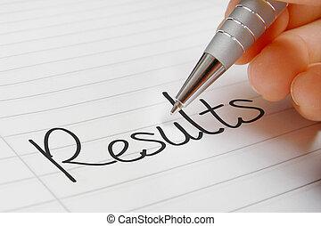 resultaten, woord, handschrift