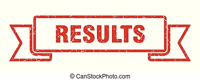 results grunge ribbon. results sign. results banner