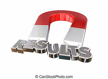 Results Magnet Attracting Letters Good Outcome Payoff 3d Illustration