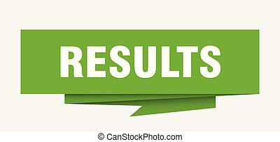 results sign. results paper origami speech bubble. results tag. results banner