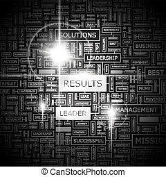 RESULTS. Word cloud illustration. Tag cloud concept collage...