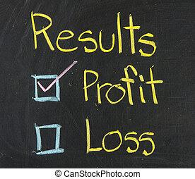 Results, written on a blackboard.