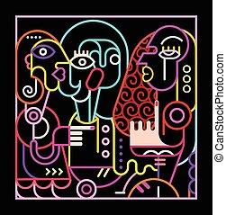 resumé umění, neon, ilustrace