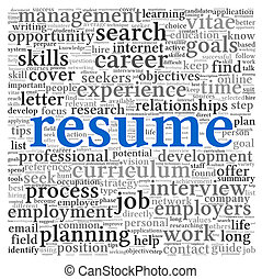 Resume concept words - Resume concept in word tag cloud on...