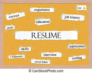 Resume Corkboard Word Concept with great terms such as...