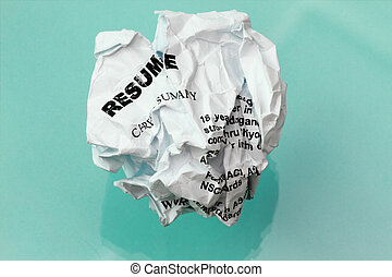 resume crumpled in cyan background with reflection and...