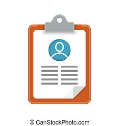 resume cv icon. Recruiting, employment, human resources. Searching cv and profile of employees. Vector illustration
