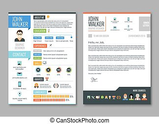 Two pages job candidate cv template with work experience resume vector illustration