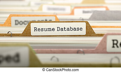 Resume Database Concept. Folders in Catalog.