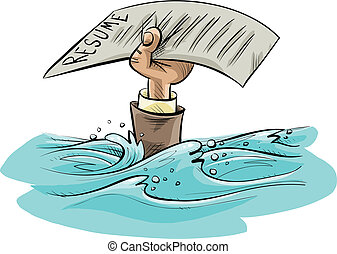Resume Drowning - The cartoon hand of a drowning person...