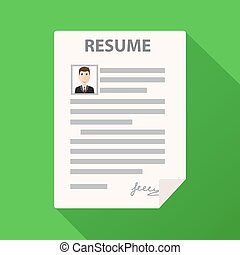 Resume form icon on green background with long shadow, cv application, stock vector illustration