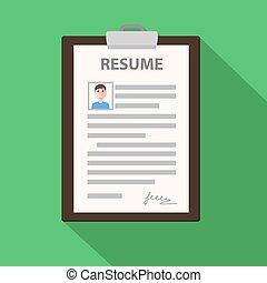 Resume form on clipboard, cv application, stock vector illustration