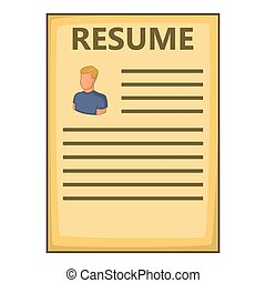 Resume icon, cartoon style