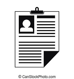 Resume icon in simple style