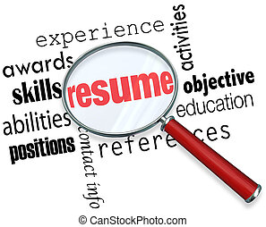 Resume Magnifying Glass Apply Job Experience Document - A...