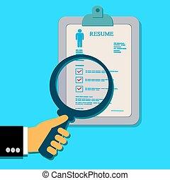 Resume, magnifying, glass, job, flat design
