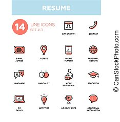 Resume - modern simple thin line design icons, pictograms...