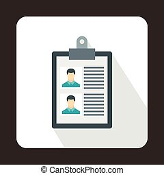 Resume of two candidates icon, flat style