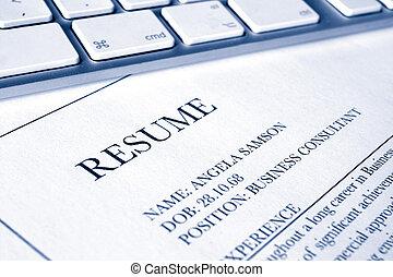 resume or cv job application - close up of a resumé or cv...