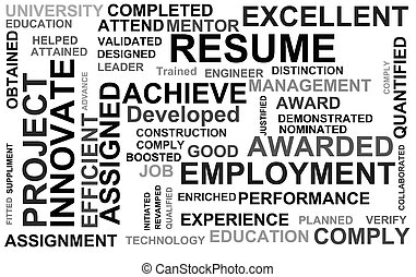 resume powerful words illustration high resolution digital stock