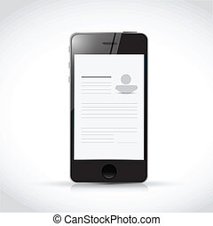 resume profile on a smart phone illustration