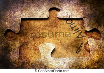 Resume puzzle grunge concept