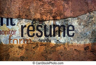 Resume text on wall