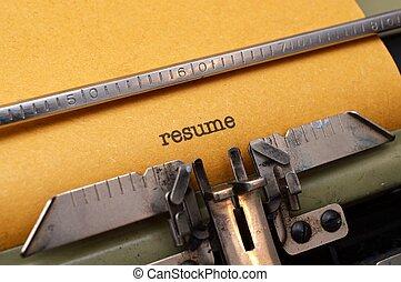 resume, text, på, skrivmaskin