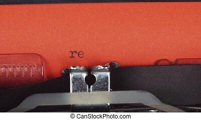 resume - Typed on a old vintage typewriter. Printed on red...