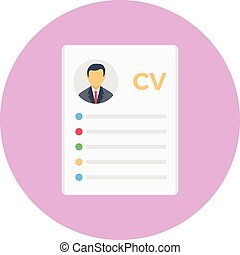 resume vector colour flat icon