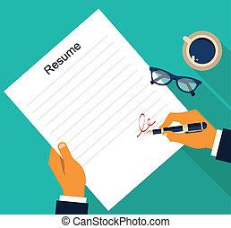 resume, vektor, affär, bakgrund