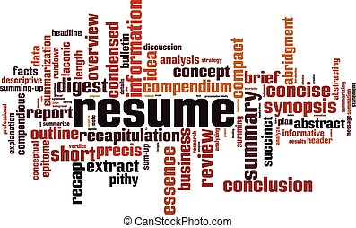 Resume word cloud concept. Collage made of words about ...
