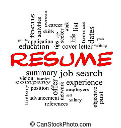 Resume Word Cloud Concept in Red Caps