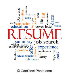 Resume Word Cloud Concept with great terms such as career, job search, interview and more.