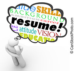 Resume Word Thought Cloud Bubble Man Thinking Experience