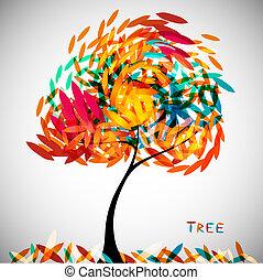 resumen, árbol, colorido