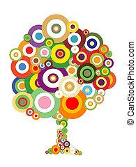 resumen, árbol, con, colorido, burbujas