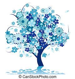 resumen, árbol, con, flores
