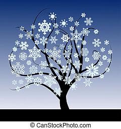 resumen, árbol, copos de nieve