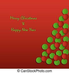 resumen, árbol, fondo rojo, tarjeta de navidad