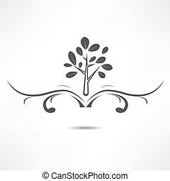 resumen, árbol, icono