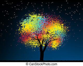 resumen, árbol., medianoche, colorido, wi